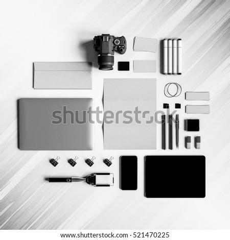 Black and white corporate mock up design. 3D illustration #521470225