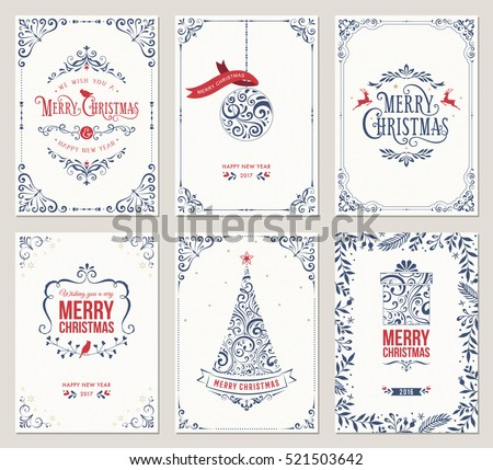 Ornate vertical winter holidays greeting cards with New Year tree, gift box, Christmas ornaments and typographic design.Vector illustration.