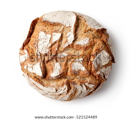freshly baked bread isolated on white background, top view Royalty-Free Stock Photo #521524489