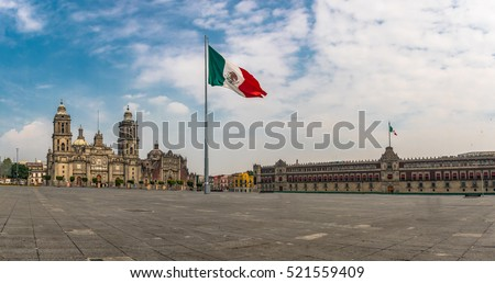 Panoramic view of Zocalo and Cathedral - Mexico City, Mexico #521559409
