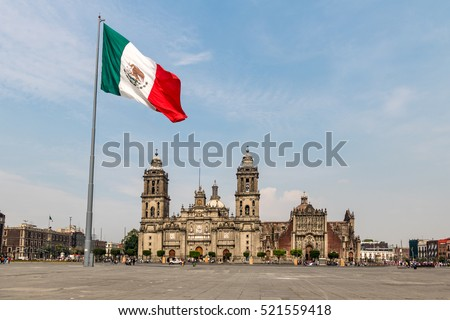 Panoramic view of Zocalo and Cathedral - Mexico City, Mexico #521559418