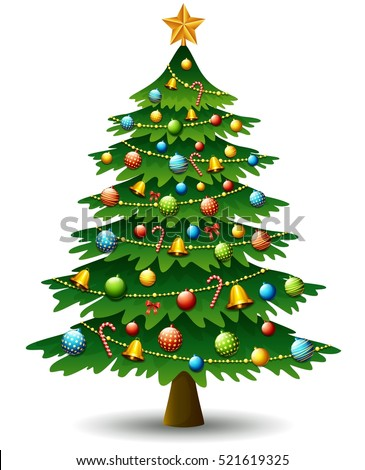 Vector illustration of Christmas tree on a white background