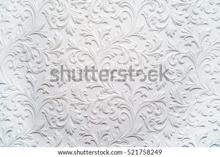Plaster background floral pattern Royalty-Free Stock Photo #521758249