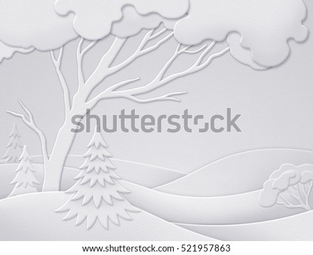 digital illustration, winter forest background, white Christmas nature, paper cut, quilling, New Year greeting card