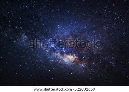 Close-up of Milky way galaxy with stars and space dust in the universe