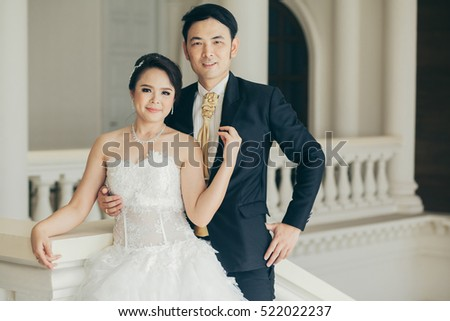 Bride and groom on their wedding day #522022237