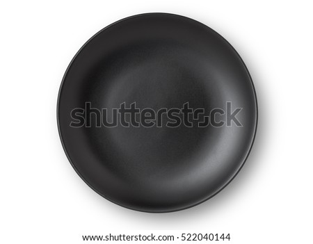 Top view of empty plate on white background Royalty-Free Stock Photo #522040144