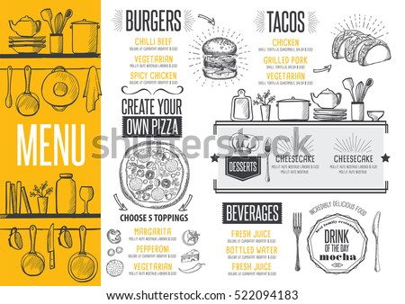 Cafe menu food placemat brochure, restaurant template design. Creative vintage brunch flyer with hand-drawn graphic.  Royalty-Free Stock Photo #522094183