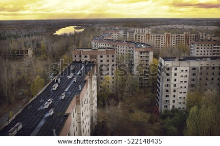 Vew from roof of 16-storied apartment house in Pripyat town, Chernobyl Nuclear Power Plant Zone of Alienation, Ukraine #522148435