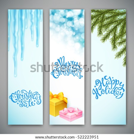 Set of three banners with christmas background and handdrawn lettering. Vector illustration #522223951