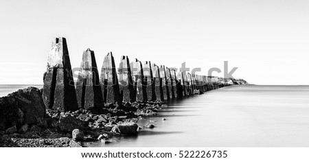 The ruins of the Second World War sea fortification at Crammond near Edinburgh artistic conversion