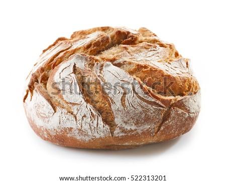 freshly baked bread isolated on white background Royalty-Free Stock Photo #522313201