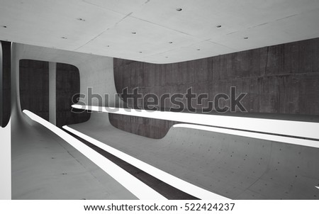 Empty dark abstract concrete room smooth interior. Architectural background. Night view of the illuminated. 3D illustration and rendering #522424237