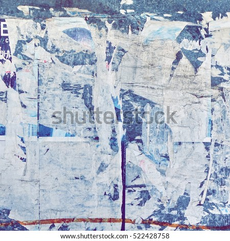 Old Urban Billboard With Torn Peeled Poster Abstract Horizontal Background. Outdoor Bulletin Board Or Plywood Panel With Worn Advertising Message, Notice And Stickers Street Texture. Creative Surface