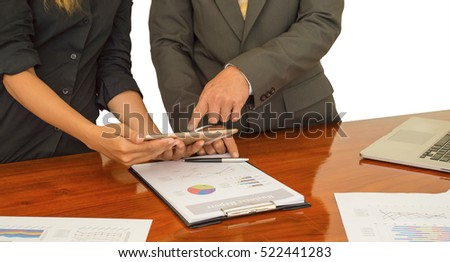 lady and getleman talking about business document in office.Business people in isolated background. #522441283