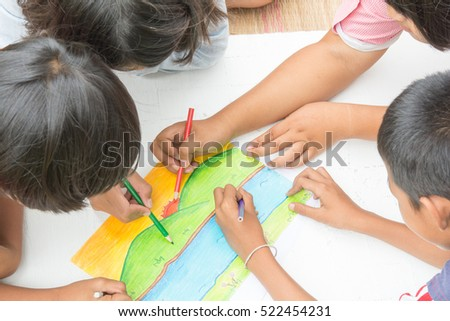 thai kids   with crayons and Coloring of joyful