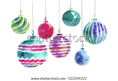 christmas bulbs hand made watercolor illustration. xmas ball decoration. decorative background for header or greeting card, bauble decorations,