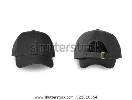 Baseball black cap back and front side isolated on white background. This has clipping path.                             #522510364