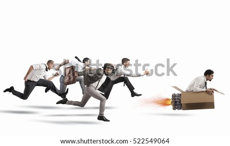 Overcome and achieve success Royalty-Free Stock Photo #522549064