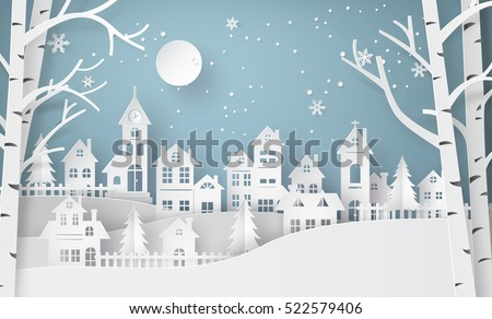 Winter Snow Urban Countryside Landscape City Village with full moon,Happy new year and Merry christmas,paper art and  digital craft style. Royalty-Free Stock Photo #522579406