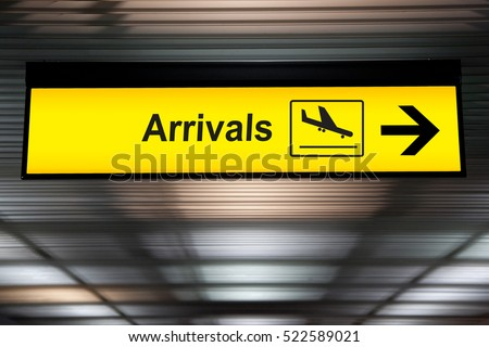 Airport Arrival Sign Royalty-Free Stock Photo #522589021