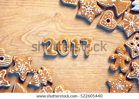 Traditional Christmas cookies on wooden table. Top view. Christmas baking concept #522605440