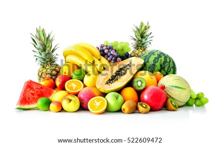Assortment of exotic fruits isolated on white #522609472