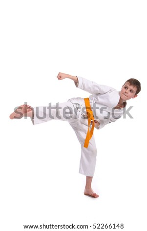 Little boy (child) practice karate isolated on white background #52266148