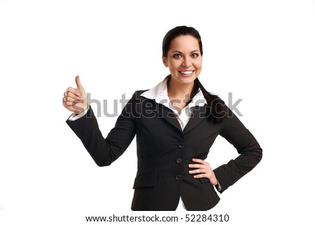 Happy successful businesswoman. Isolated over white background #52284310