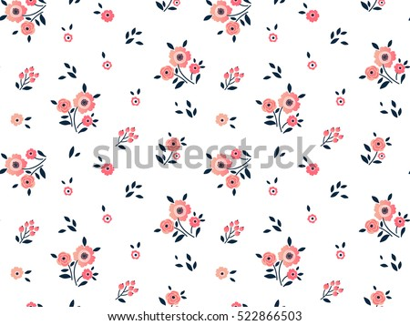 """Cute Floral pattern in the small flower. """"Ditsy print"""". Motifs scattered random. Seamless vector texture. Elegant template for fashion prints. Printing with very small pink flowers. White background."""