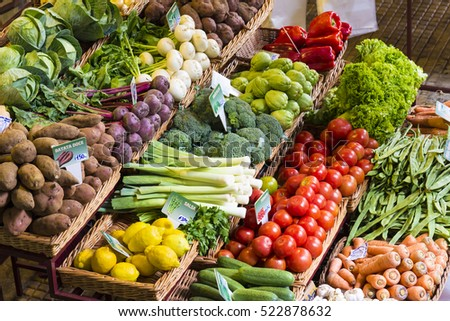 fresh vegetables market madeira funchal, healthy nutrition #522878632