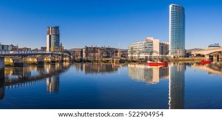 Panoramic view of  River Lagan, Belfast City, Northern Ireland, United Kingdom Royalty-Free Stock Photo #522904954