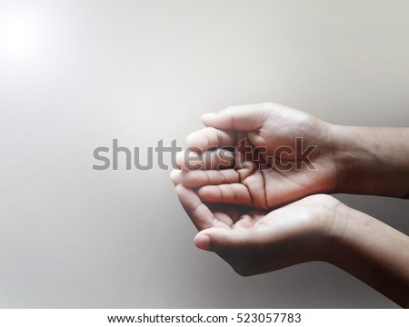 child hands begging asking for money, help me, reaching out and compassion concept. #523057783