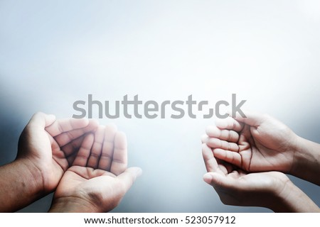 child hands begging asking for money, help me, reaching out and compassion concept. #523057912