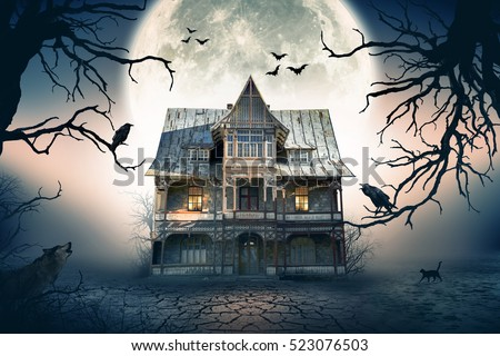Haunted House with Full Moon in the Background. Haunted House Scene. Royalty-Free Stock Photo #523076503