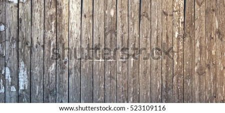 Grey Barn Wooden Wall Planking Wide Texture. Old Solid Wood Slats Rustic Shabby Gray Background.  Dark Hardwood Weathered Square Surface. Grungy Faded Timber Wood Structure. Abstract Web Banner #523109116