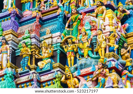 Closeup details on the tower of a Hindu Temple dedicated to Lord Shiva in Colombo, Sri Lanka. #523217197