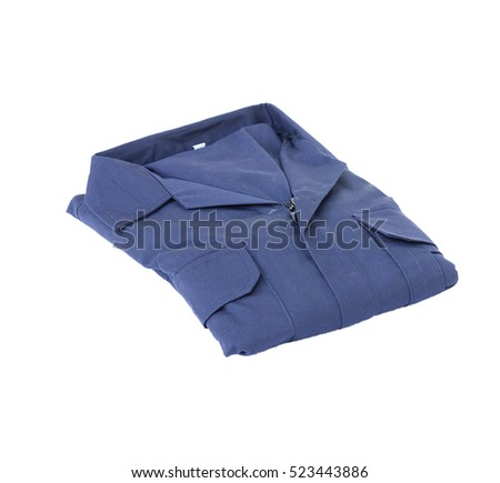 Accessories of welder, Blue coveralls isolated on white background #523443886