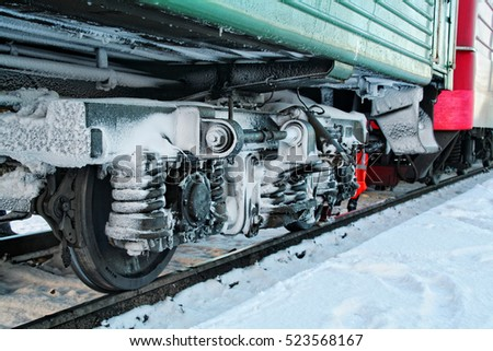 the train on the tracks in winter #523568167