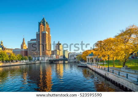 Downtown skyline with Buildings along the Milwaukee River, in Milwaukee, Wisconsin.