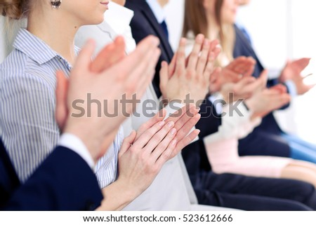 Close up of business people hands  clapping at conference #523612666
