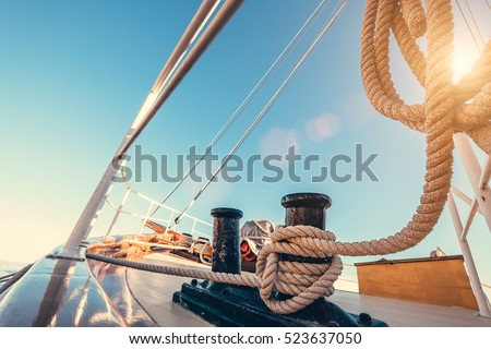 Luxury yacht tackle during the ocean voyage  Royalty-Free Stock Photo #523637050