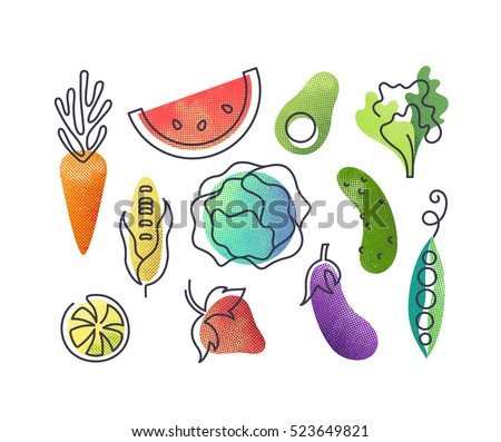 Colorful vector icons' set of fruits and vegetables. Isolated creative design healthy life objects. Vegetarian and vegan food halftone textured and monoline symbols' pack, no gradients Royalty-Free Stock Photo #523649821