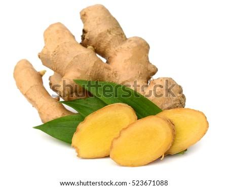 Fresh ginger root or rhizome isolated on white background cutout #523671088