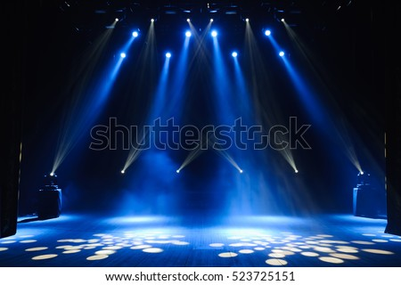 Free stage with lights, lighting devices. Royalty-Free Stock Photo #523725151