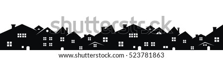 cityscape, vector icon, black silhouette on white background