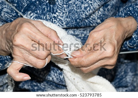 Detail of the hands of an elderly woman #523793785