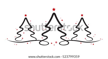 christmas trees red stars white background