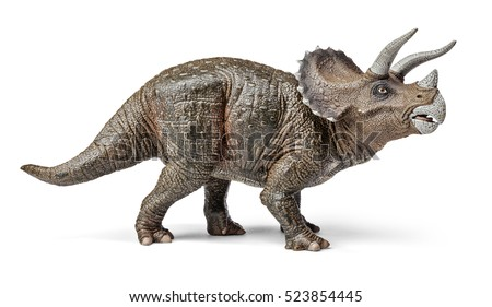 Triceratops dinosaurs toy isolated on white background with clipping path.