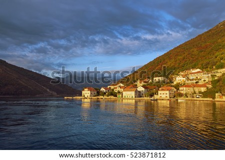 Last ray of the setting sun. Lepetane village, Bay of Kotor, Montenegro #523871812